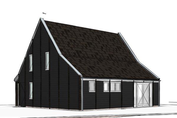 komt dit houten huisje. Haar vorm en de geteerde, gepotdekselde houten ...