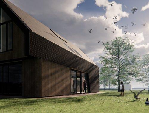 Deze moderne schuurwoning is gebruik gemaakt van biologisch materiaal en staat in Groet