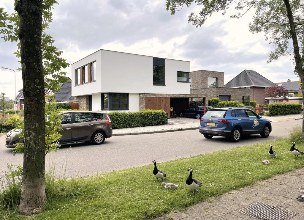 Moderne villa, kubus vorm met overstek
